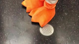 Person dressed as pigeon with tie orange feet
