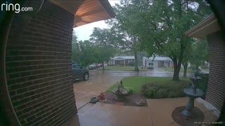 Doorbell Camera Captures Lightning Striking Tree
