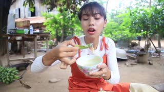 Primitive Technology_ Cooking skill BBQ Beef recipe _ Cooking skill _ Khmer Survival Skills