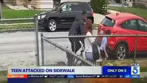 An 18-year-old girl took several punches head in broad daylight attack by a black man in L.A