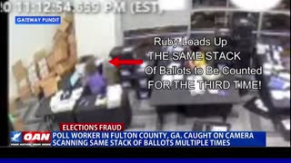 Poll Worker in Fulton County, Ga. Caught on Camera Scanning Same Stack of Ballots Multiple Times