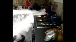 Kids Creating Safe Chemical Reactions with Dad
