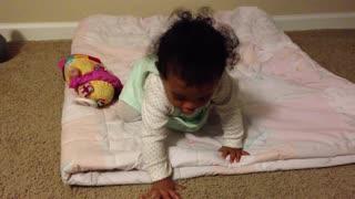 Blasian Baby Sister Plays On Comforter!