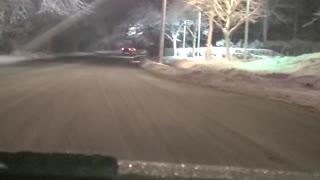 Snowy drive in Long Island New York