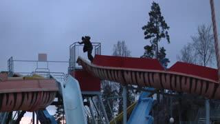 Snowboarder Fails Waterpark Slide Set
