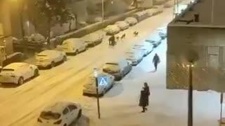 Sledding through the streets of Madrid
