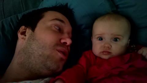 Cute baby doesn't like facial hair