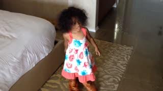 Blasian Baby Sister Wears DaDa's Cowboy Boots!
