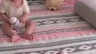 Surprised and happy baby