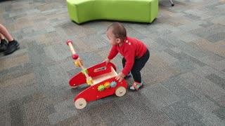 Luke Enjoy Pushing Trolley