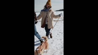 Cute dog relationship with family