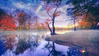 Beautiful lake with rainbow 🌈