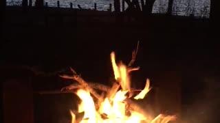 Campfire at sunset