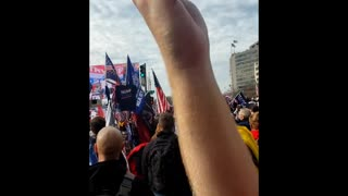Crowd Sings National Anthem At Million MAGA March