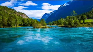 Beautiful river water flowing with natural mountain scenery
