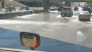 Broken Water Main Causes Highway Havoc