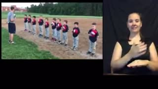 Little league doing Old Glory. 🇺🇸