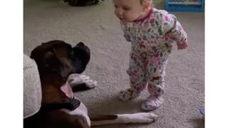 This baby can't stop talking to her doggy best friend