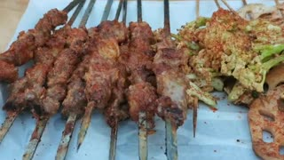Grilled lamb skewers in China