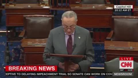 "SCHUMER: ""Senators will have to decide if Donald John Trump incited the erection."""