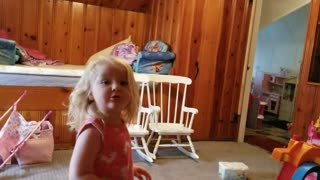 Little Girl Really Wishes It Would Stop Raining