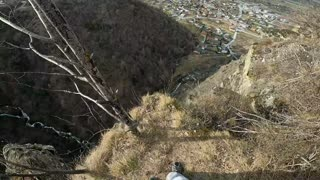 Parachute Mishap During Base Jump
