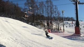 Rough Snowboarding Jump Landing