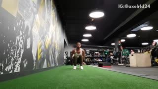 Guy workout grass gym backflip fail