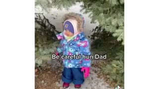 Cute baby gives dad advice