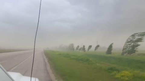 Brave Man Captures Impressive Sight During Fierce Wind Storm