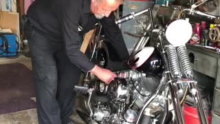Hand Starting a '57 Harley Panhead Motorcycle