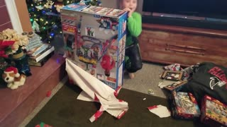 Luke Unwrapping His Thomas and Friends Super Station