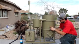 amazing homemade gasifier uses wood pellets to run generator