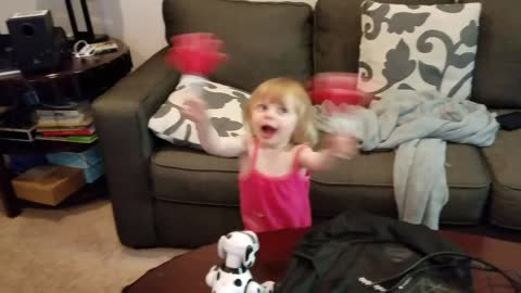 Adorable & Cute Toddler Dancing With Hand Slappers