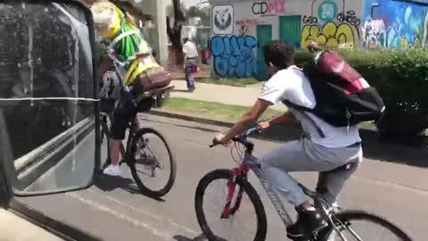 Distracted Cyclist Fail