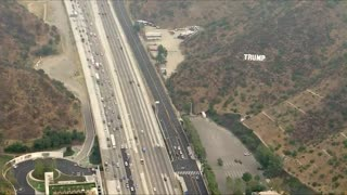 TRUMP Sign Resembling HOLLYWOOD Sign Placed On 405 Freeway In California