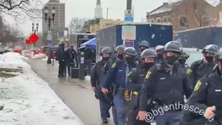 Michigan State Police getting ready outside the Capitol Building this morning