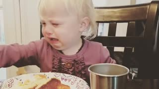 Toddler throws tantrum when butter keeps melting