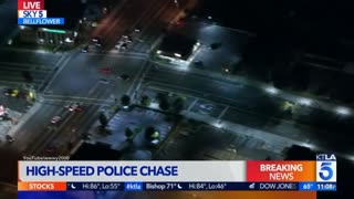 Nighttime Sport Car High Speed Police Pursuit in Los Angeles