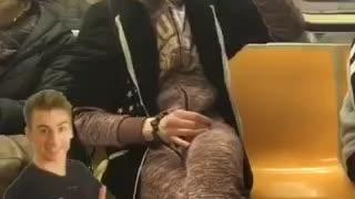 Guy drinks dunkin donuts coffee creamer bottle on subway train