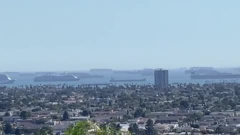 cargo ships stuck to california coast