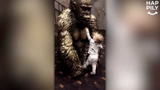 Baby Tries To Breastfeed From Gorilla Statue