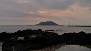 beautiful sunset of JEJU island sea