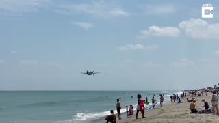 WW2 Plane Makes Emergency Landing On Beach
