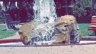 A park in Romania with fountain feature