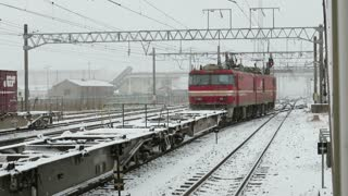 Freight train leaving the yard