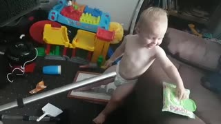 Wet wipes, baby, and vacuum cleaner