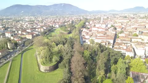 Drone footage over Lucca, Italy