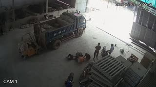 Working Man Falls From Work Truck