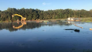 Gotta make a dam in sewage pond!
